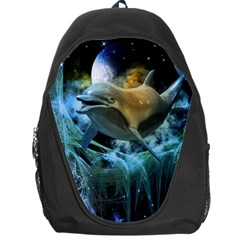 Funny Dolphin In The Universe Backpack Bag by FantasyWorld7