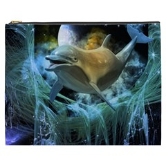 Funny Dolphin In The Universe Cosmetic Bag (xxxl)
