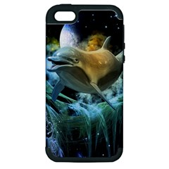 Funny Dolphin In The Universe Apple Iphone 5 Hardshell Case (pc+silicone)