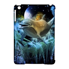 Funny Dolphin In The Universe Apple Ipad Mini Hardshell Case (compatible With Smart Cover)