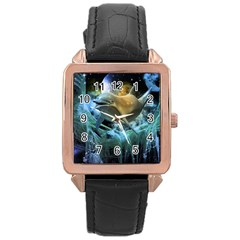 Funny Dolphin In The Universe Rose Gold Watches