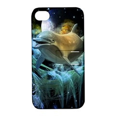 Funny Dolphin In The Universe Apple Iphone 4/4s Hardshell Case With Stand