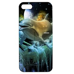 Funny Dolphin In The Universe Apple Iphone 5 Hardshell Case With Stand