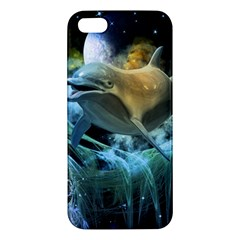 Funny Dolphin In The Universe Apple Iphone 5 Premium Hardshell Case
