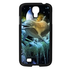 Funny Dolphin In The Universe Samsung Galaxy S4 I9500/ I9505 Case (black)