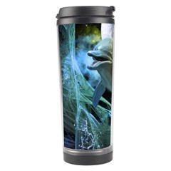 Funny Dolphin In The Universe Travel Tumblers