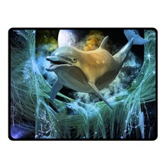 Funny Dolphin In The Universe Double Sided Fleece Blanket (small)