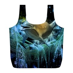 Funny Dolphin In The Universe Full Print Recycle Bags (l)