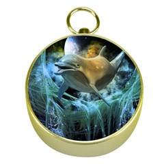 Funny Dolphin In The Universe Gold Compasses