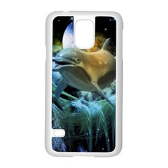 Funny Dolphin In The Universe Samsung Galaxy S5 Case (white)