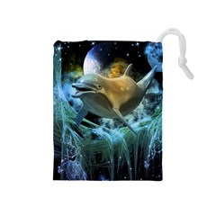 Funny Dolphin In The Universe Drawstring Pouches (medium)