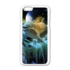 Funny Dolphin In The Universe Apple Iphone 6/6s White Enamel Case