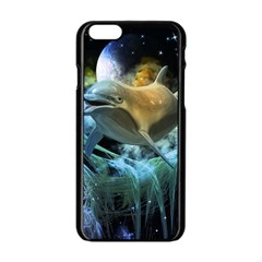 Funny Dolphin In The Universe Apple Iphone 6/6s Black Enamel Case