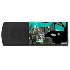 Cute Mermaid Playing With Orca Usb Flash Drive Rectangular (4 Gb)  by FantasyWorld7