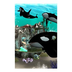Cute Mermaid Playing With Orca Shower Curtain 48  X 72  (small)