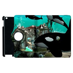 Cute Mermaid Playing With Orca Apple Ipad 3/4 Flip 360 Case