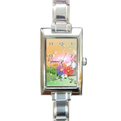 Wonderful Colorful Flowers With Dragonflies Rectangle Italian Charm Watches by FantasyWorld7