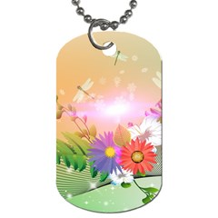 Wonderful Colorful Flowers With Dragonflies Dog Tag (two Sides) by FantasyWorld7