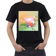 Wonderful Colorful Flowers With Dragonflies Men s T-shirt (black) (two Sided) by FantasyWorld7