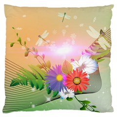 Wonderful Colorful Flowers With Dragonflies Large Cushion Cases (one Side)