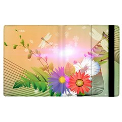 Wonderful Colorful Flowers With Dragonflies Apple Ipad 2 Flip Case by FantasyWorld7