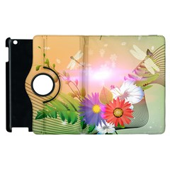Wonderful Colorful Flowers With Dragonflies Apple Ipad 3/4 Flip 360 Case by FantasyWorld7