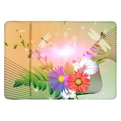 Wonderful Colorful Flowers With Dragonflies Samsung Galaxy Tab 8 9  P7300 Flip Case by FantasyWorld7