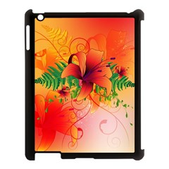 Awesome Red Flowers With Leaves Apple Ipad 3/4 Case (black) by FantasyWorld7