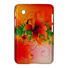 Awesome Red Flowers With Leaves Samsung Galaxy Tab 2 (7 ) P3100 Hardshell Case  by FantasyWorld7
