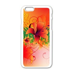 Awesome Red Flowers With Leaves Apple Iphone 6/6s White Enamel Case by FantasyWorld7