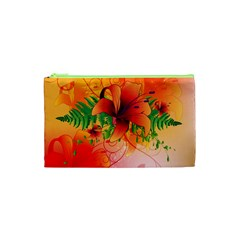 Awesome Red Flowers With Leaves Cosmetic Bag (xs) by FantasyWorld7