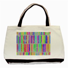 Colorful Vintage Stripes Basic Tote Bag (two Sides) by LalyLauraFLM