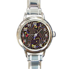 Ribbon Chaos 2 Black  Round Italian Charm Watches by ImpressiveMoments