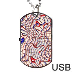 Ribbon Chaos 2 Red Blue Dog Tag Usb Flash (one Side) by ImpressiveMoments