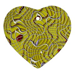 Ribbon Chaos 2 Yellow Ornament (heart)  by ImpressiveMoments