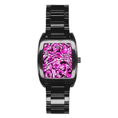Ribbon Chaos Pink Stainless Steel Barrel Watch by ImpressiveMoments