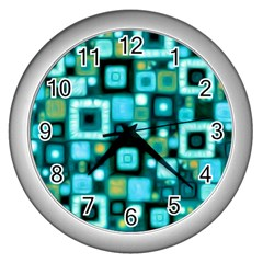 Teal Squares Wall Clocks (silver)  by KirstenStar