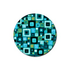 Teal Squares Rubber Coaster (round)  by KirstenStar
