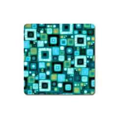 Teal Squares Square Magnet by KirstenStar