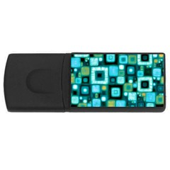Teal Squares Usb Flash Drive Rectangular (4 Gb)  by KirstenStar