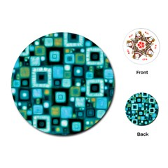 Teal Squares Playing Cards (round)  by KirstenStar