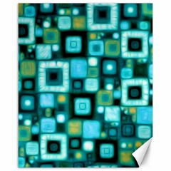 Teal Squares Canvas 16  X 20   by KirstenStar