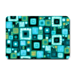 Teal Squares Small Doormat  by KirstenStar