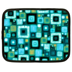 Teal Squares Netbook Case (large)	 by KirstenStar