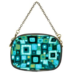 Teal Squares Chain Purses (two Sides)  by KirstenStar