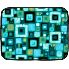 Teal Squares Fleece Blanket (mini) by KirstenStar