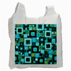 Teal Squares Recycle Bag (two Side)  by KirstenStar
