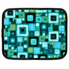 Teal Squares Netbook Case (xl)  by KirstenStar