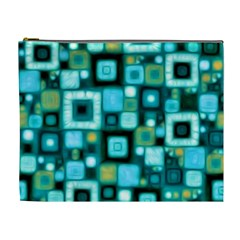 Teal Squares Cosmetic Bag (xl) by KirstenStar