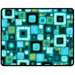 Teal Squares Fleece Blanket (medium)  by KirstenStar